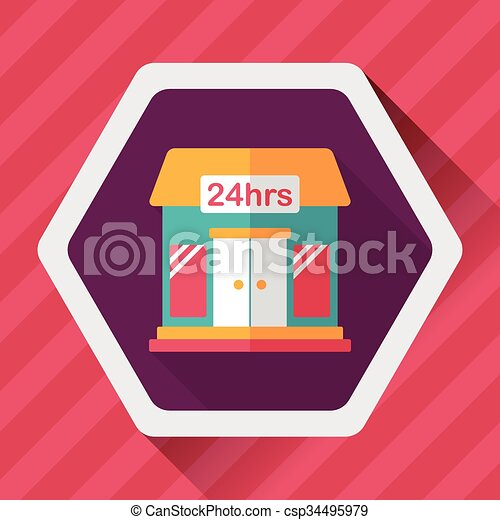 Building convenient store flat icon with long shadow,eps10 - csp34495979