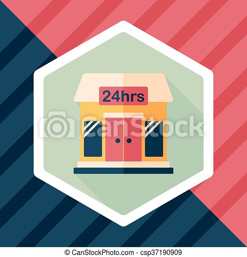 Building convenient store flat icon with long shadow,eps10 - csp37190909