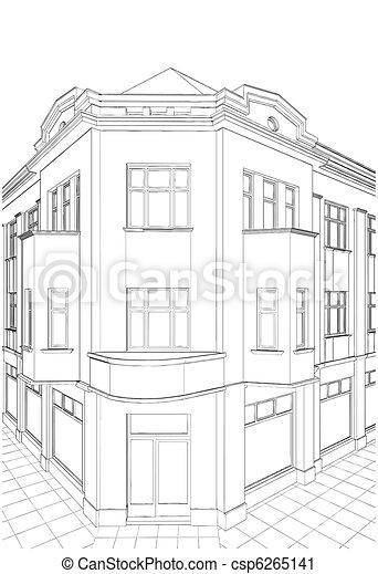 Building Corner Residential House - csp6265141