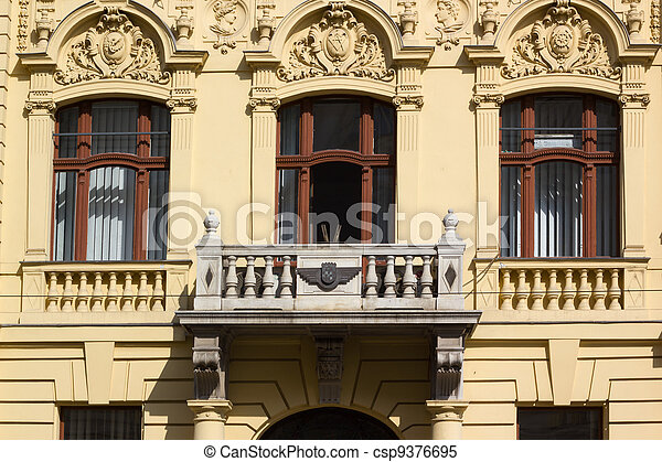 Building facade with reliefs in Zagreb, Croatia - csp9376695