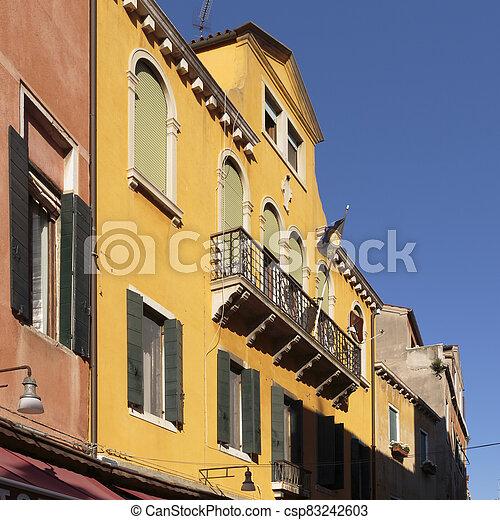 Building facades along Salizada San Pantalon - csp83242603