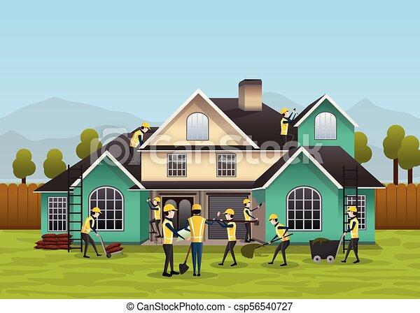 House Construction Clip Art : Building house construction design concept residential house