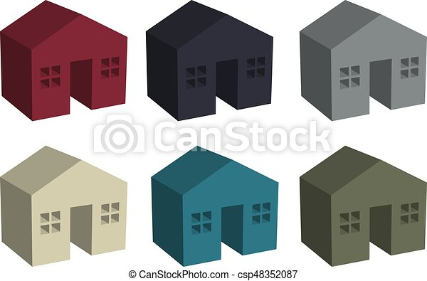 Building houses icon in 3D - csp48352087
