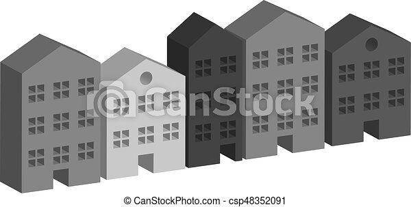 Building housing street in grey - csp48352091