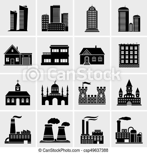 Building icons set - csp49637388
