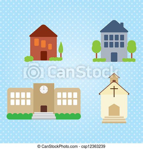 Building Icons Set - csp12363239