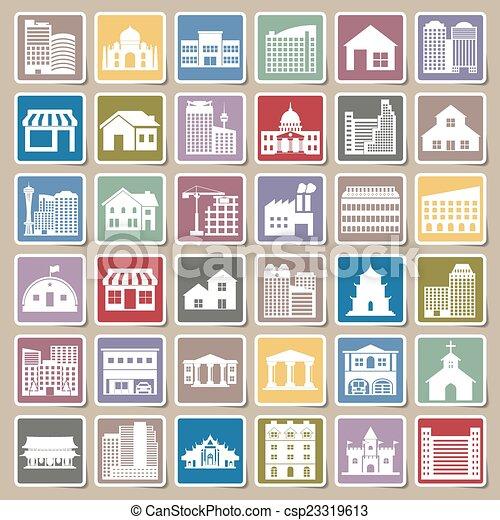 building icons set Sticker - csp23319613