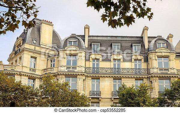 Building in Avenue des Champs Elysees, Paris, France - csp53552285