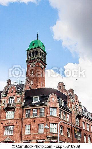 Building is situated on City Hall Square in Copenhagen, Denmark - csp75618989