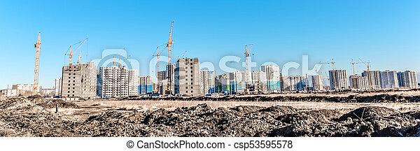 Building landscape and huge crane - csp53595578