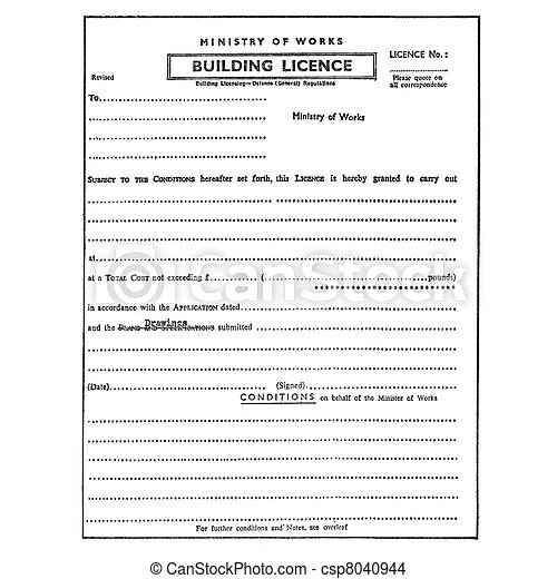 Building licence planning permission permit - csp8040944