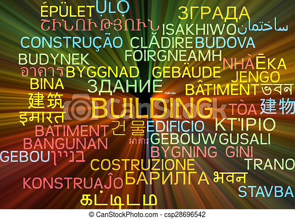 Building multilanguage wordcloud background concept glowing - csp28696542