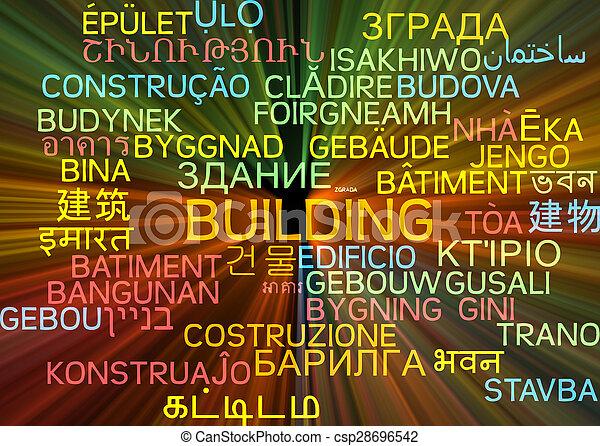 Building multilanguage wordcloud background concept glowing - csp28696542