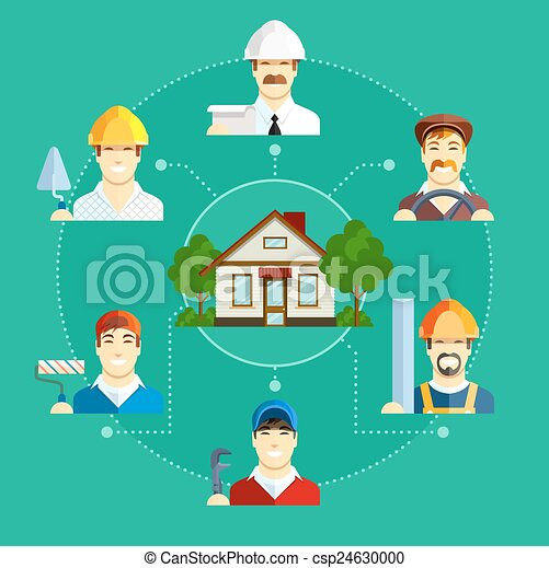 Building occupation with house. Set of flat icons - csp24630000