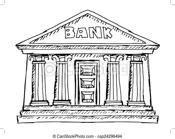 Building Of Bank Hand Drawn Sketch Illustration