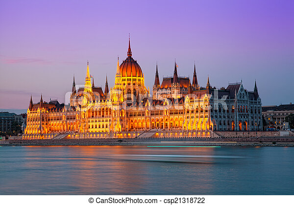 building of the Hungarian parliament with night illumination. Budapest. Hungary - csp21318722
