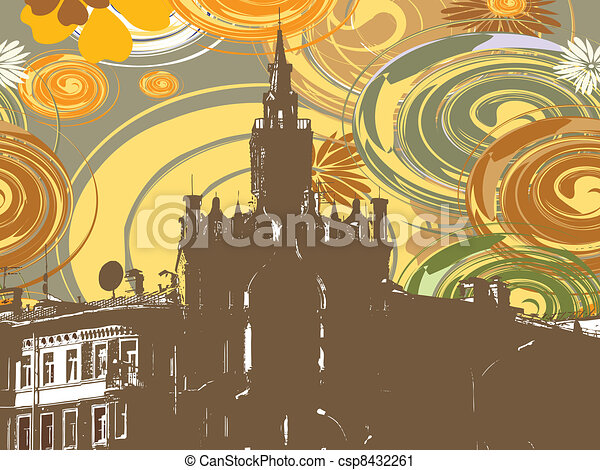Building on abstract background - csp8432261