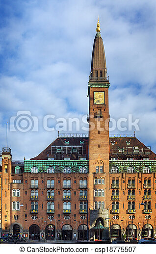 building on City Hall Square in central Copenhagen. - csp18775507