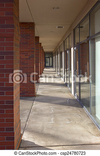 Building outside corridor and glass doors. - csp24780723