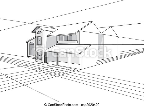 building plan design Vector outline stroke file of building plan