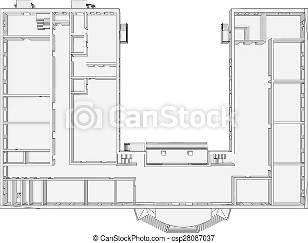Building plan on isolated white background vector vectors