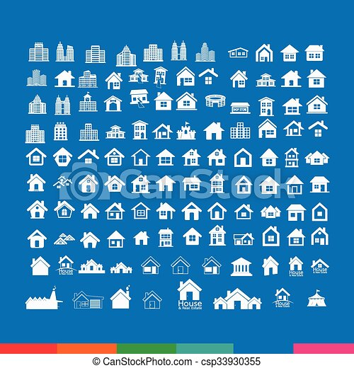 Building Real estate Home icons set Illustration design - csp33930355