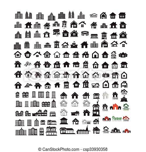 Building Real estate Home icons set Illustration design - csp33930358