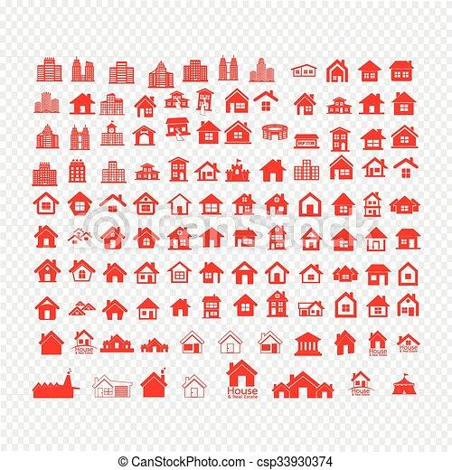 Building Real estate Home icons set Illustration design - csp33930374