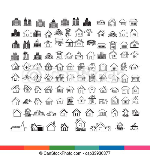 Building Real estate Home icons set Illustration design - csp33930377