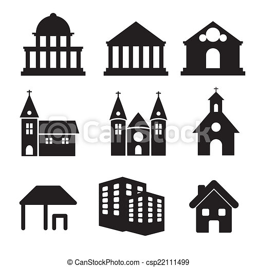 Building real state icons vector se - csp22111499