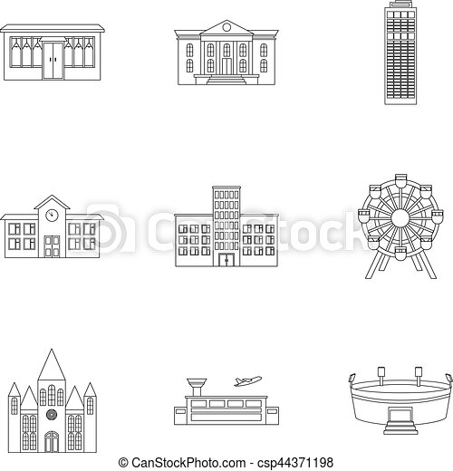 Building Set Icons In Outline Style Big Collection Of Building