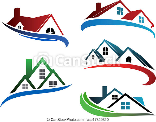 Building symbols with home roofs - csp17329310