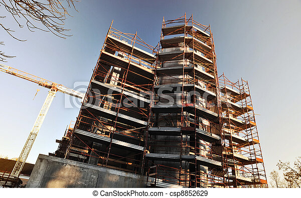 building under construction safety guard rails and tower stock