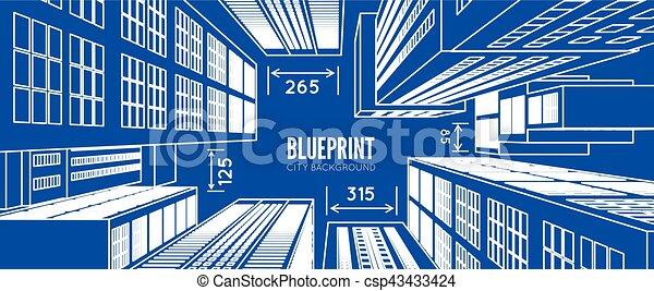 building wireframe 3d render city vector blueprint illustration