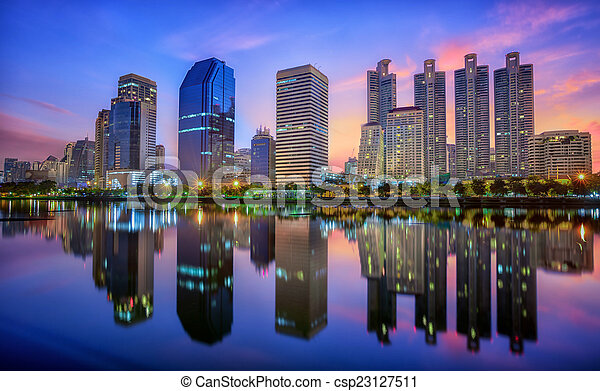Building with Reflection in Bangkok - csp23127511