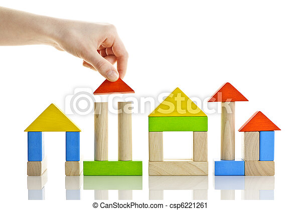 Building with wooden blocks - csp6221261