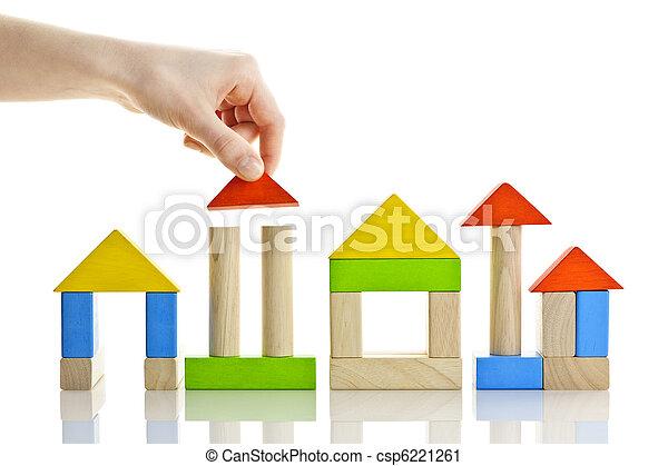 Building with wooden blocks - csp6221261