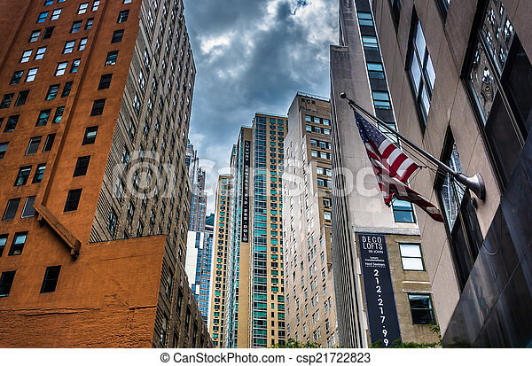 Buildings along Cliff Street in the Financial District of Lower  - csp21722823