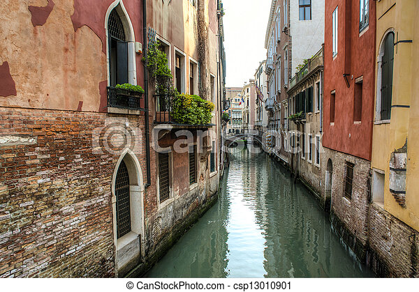 Buildings beside a canal, Venice, Italy - csp13010901