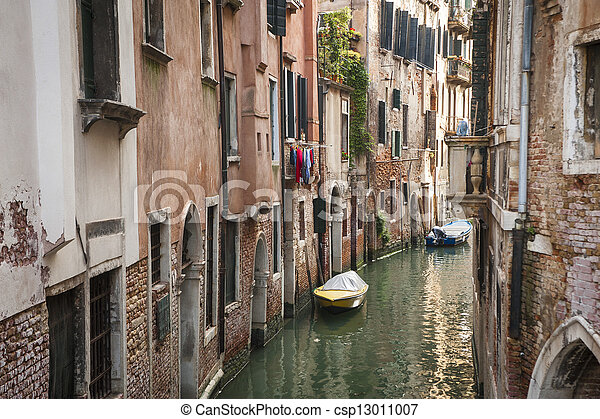 Buildings beside a canal, Venice, Italy - csp13011007