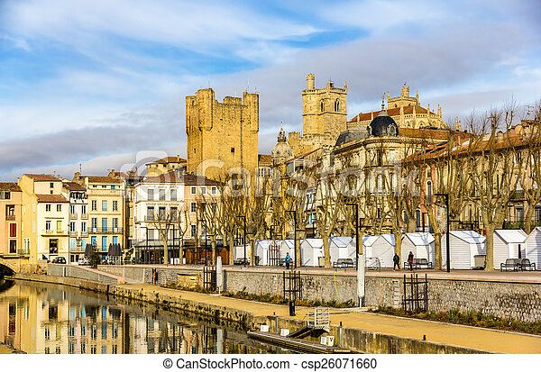 Buildings in the city center of Narbonne - France - csp26071660