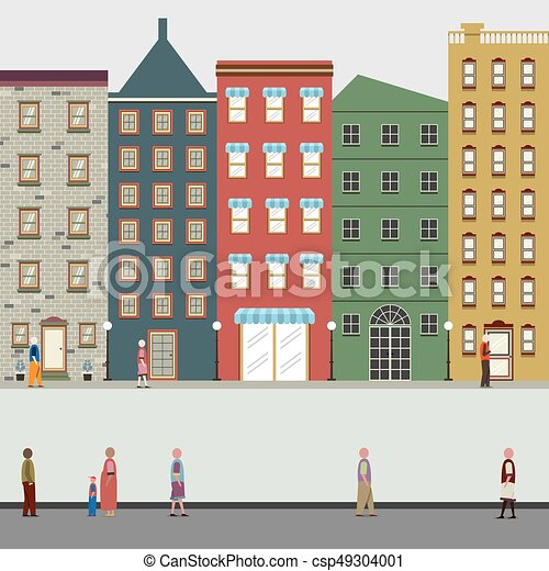 Buildings In The City Vector Illustration - csp49304001