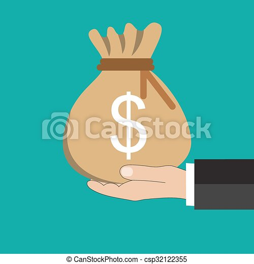 Buisness man Hand holding  money bag  - csp32122355
