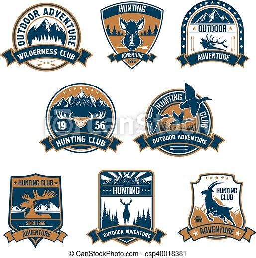 buiten, jacht, club, icons., emblems, avontuur - csp40018381