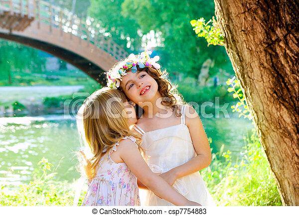 buiten, meiden, lente, park, rivier, spelend, geitje - csp7754883