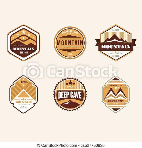 buiten, ouderwetse , kamp, emblems, logo, kentekens - csp27750935