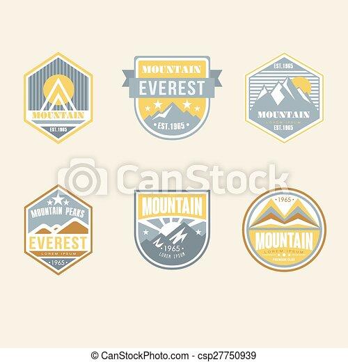 buiten, ouderwetse , kamp, emblems, logo, kentekens - csp27750939