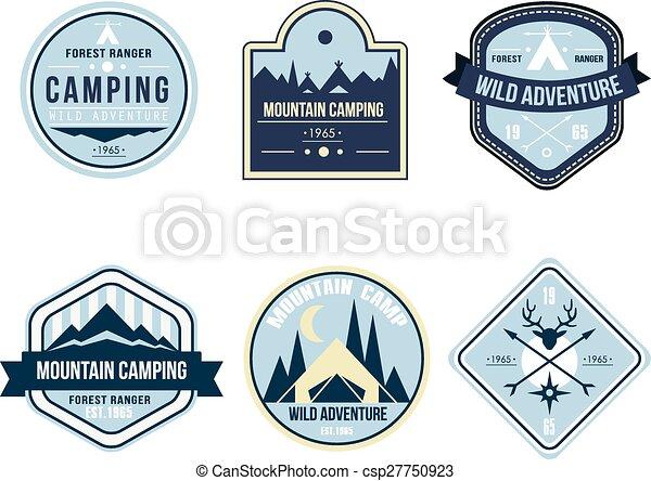 buiten, ouderwetse , kamp, emblems, logo, kentekens - csp27750923