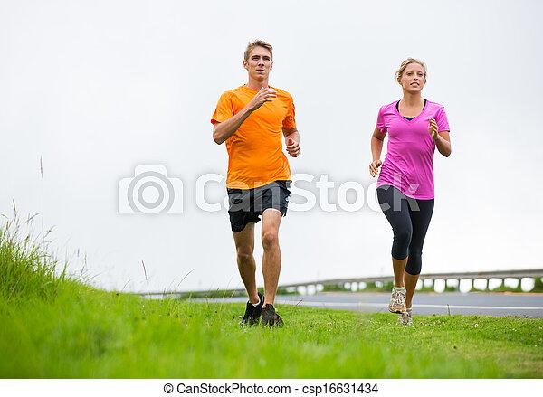 buiten, paar, jogging, rennende , fitness, sportende - csp16631434