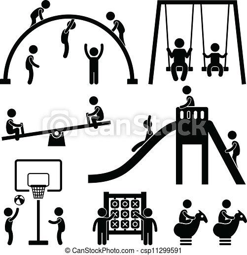 buiten, park, kinderen, speelplaats - csp11299591